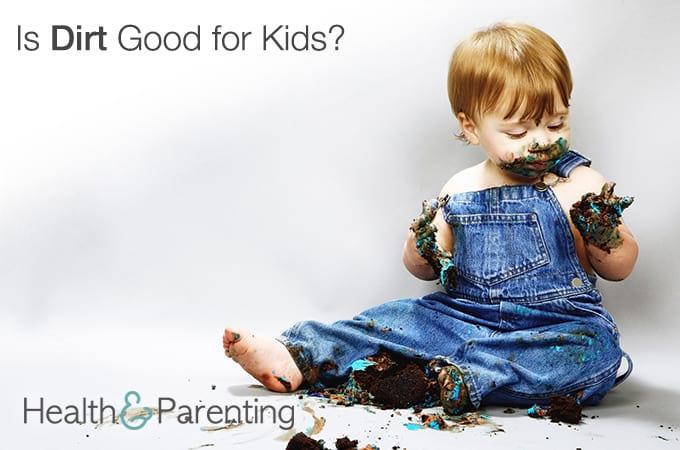 Baby eating dirt