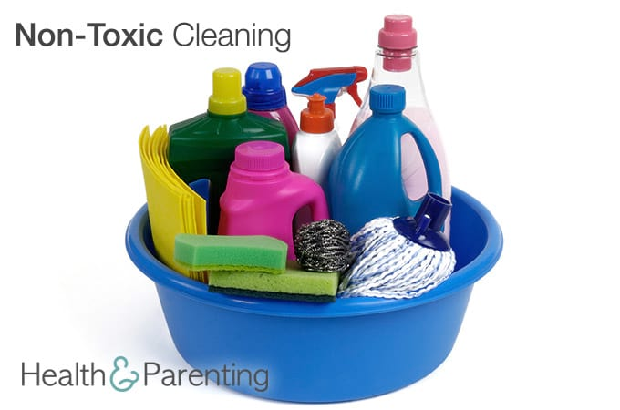 Household cleaning products in a bucket