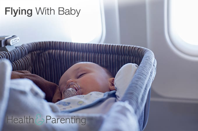 Woman with a baby in an airplane